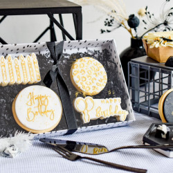 Gold Happy Birthday Iced Biscuit Box (Handpainted)